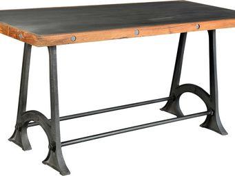 Antic Line Creations - table métal en bois forgeron - Table De Repas Rectangulaire