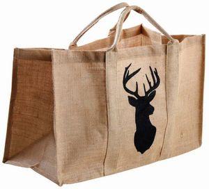 Aubry-Gaspard - sac à bûches en toile de jute naturelle cerf - Sac À Buches
