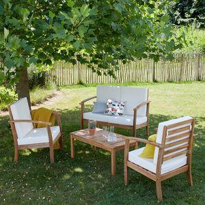 BOIS DESSUS BOIS DESSOUS - salon bas de jardin en bois d'acacia fsc - Salon De Jardin