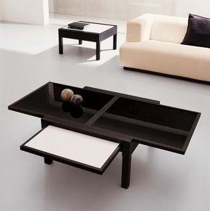 Sculptures-Jeux - table par 4 basse acrilux noir - Table Basse Avec Rallonge