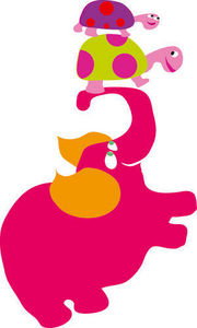 DECOLOOPIO - eléphant et tortues - Sticker Décor Adhésif Enfant