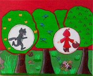 La p'tite Manue - le petit chaperon rouge - Tableau Décoratif Enfant