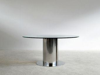 FURNITURE-LOVE.COM - antonia astori chrome steel dinning cidonio table - Table De Repas Ronde