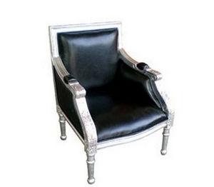 DECO PRIVE - fauteuil enfant bois argente et simili noir - Fauteuil Enfant