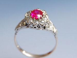 Bijouterie Bottazzi Blondeel PARIS - bague rubis synthétique et diamants en or 18k  - Bague