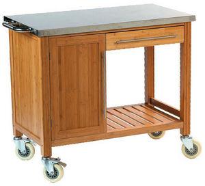 DM CREATION - chariot plancha en bambou et inox 100x55x88cm - Cuisine D'extérieur