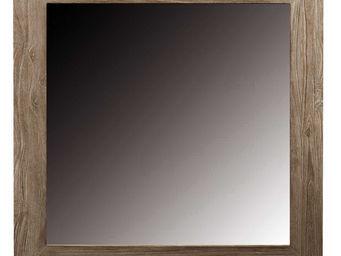 ZAGO - miroir carre en teck teinte - Miroir