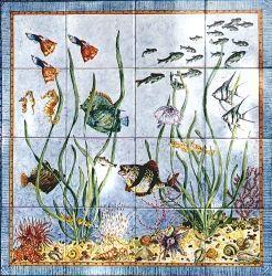 Claudia Meynell - fish panel - Panneau Céramique