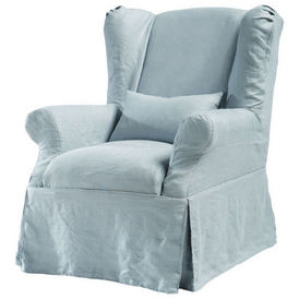 housse lin bleu gris cottage housse de fauteuil maisons du. Black Bedroom Furniture Sets. Home Design Ideas