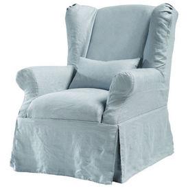 Housse lin bleu gris cottage housse de fauteuil - Housses de fauteuil ...