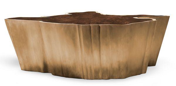 Originale Bois Brabbu Forme Sequoia Dore Table Basse cqjL4ARS35