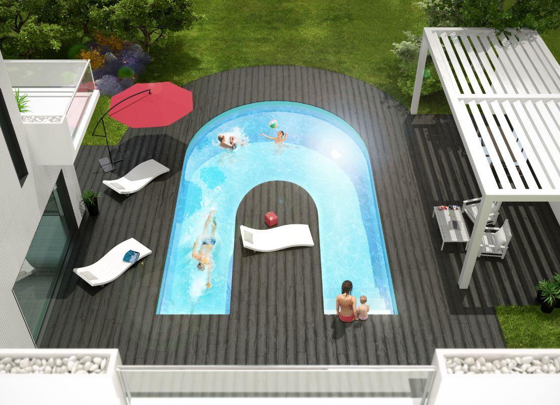 Alpha b bassin de nage aquilus piscines decofinder for Piscine bassin de nage