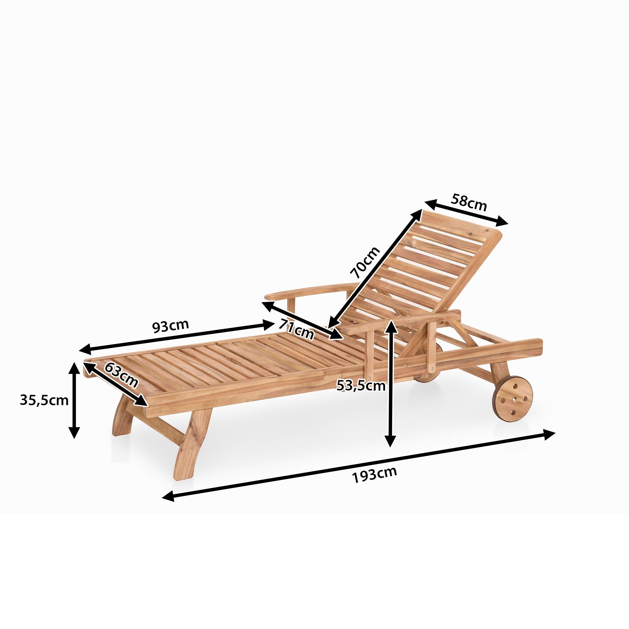 Meubles en bois teck chaise longue de jardin beliani - Chaise de jardin en bois ...