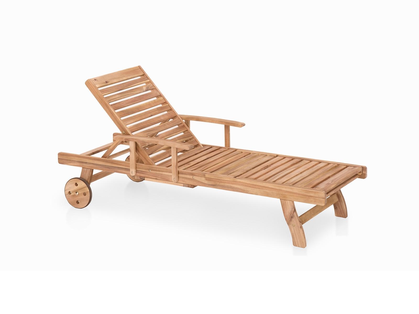 Meubles en bois teck chaise longue de jardin beliani for Chaise longue de jardin teck