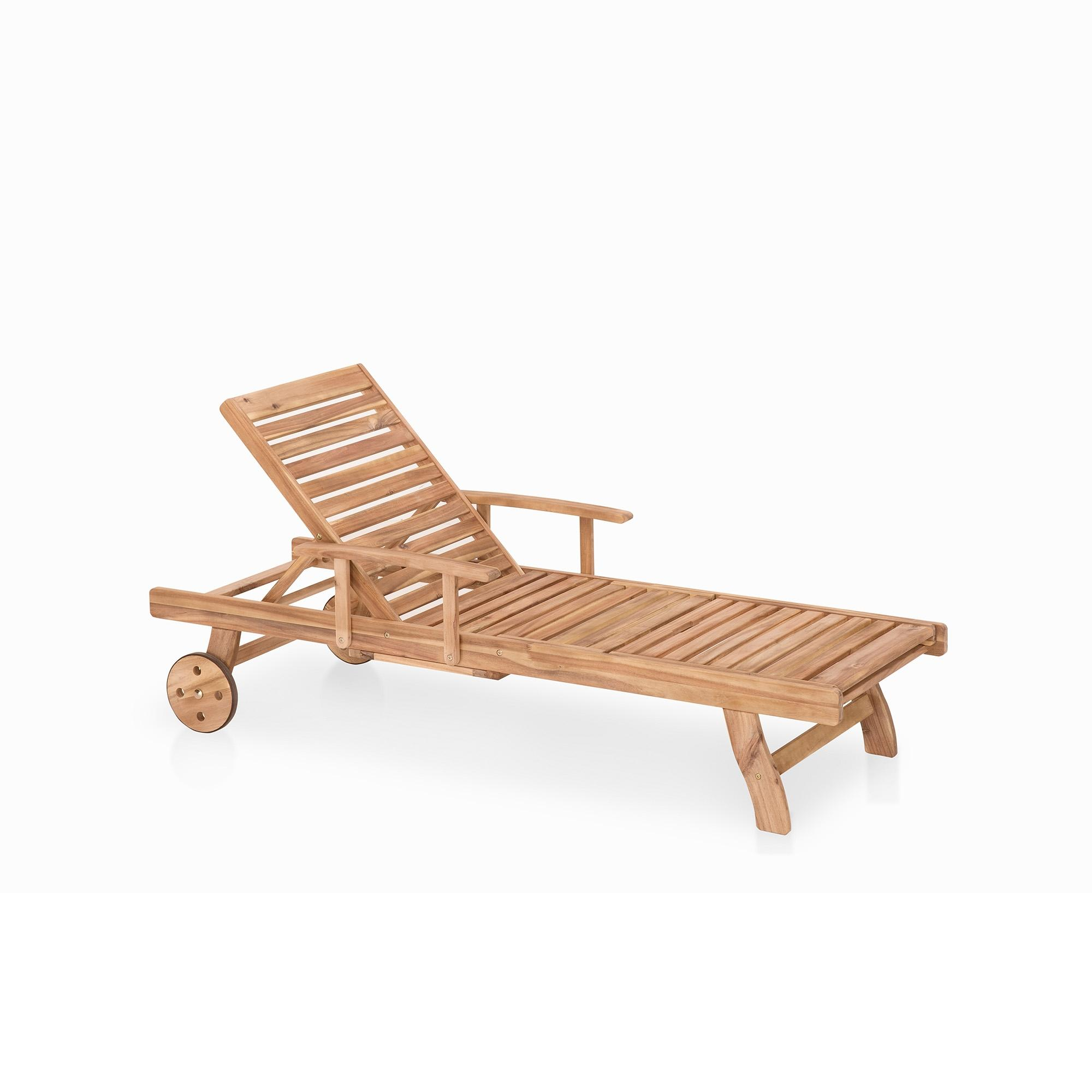 Meubles en bois teck chaise longue de jardin beliani - Chaise longue teck pas cher ...