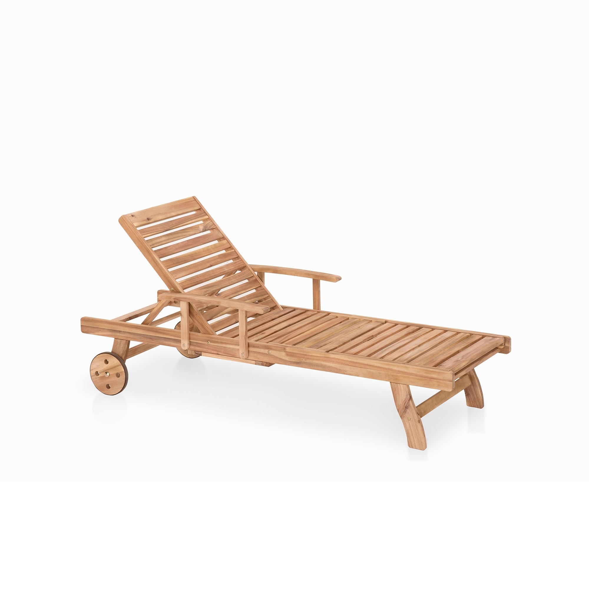 Meubles en bois teck chaise longue de jardin beliani - Chaise teck jardin ...
