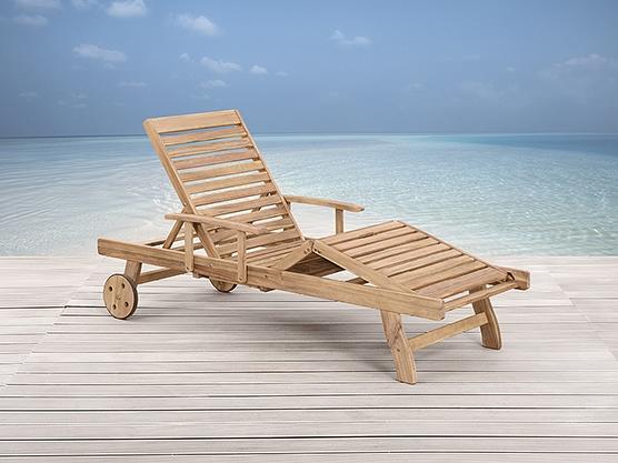 meubles en bois / teck - chaise longue de jardin - beliani - Chaise Longue Jardin Bois