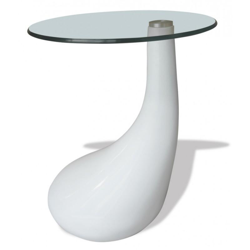 table basse design blanche verre bout de canap white label