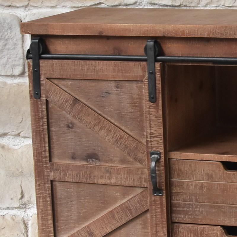 Meuble bahut t l tv industriel roulettes bois f meuble de cuisine bas bois chemin de - Meuble bahut bas ...