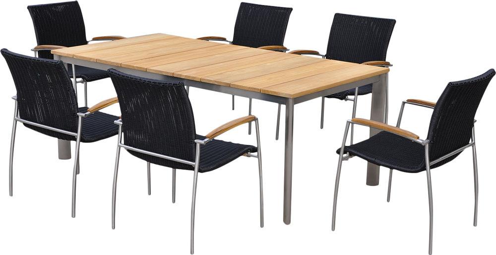 Salon de jardin table et 6 fauteuils acier brossé - Salle à ...