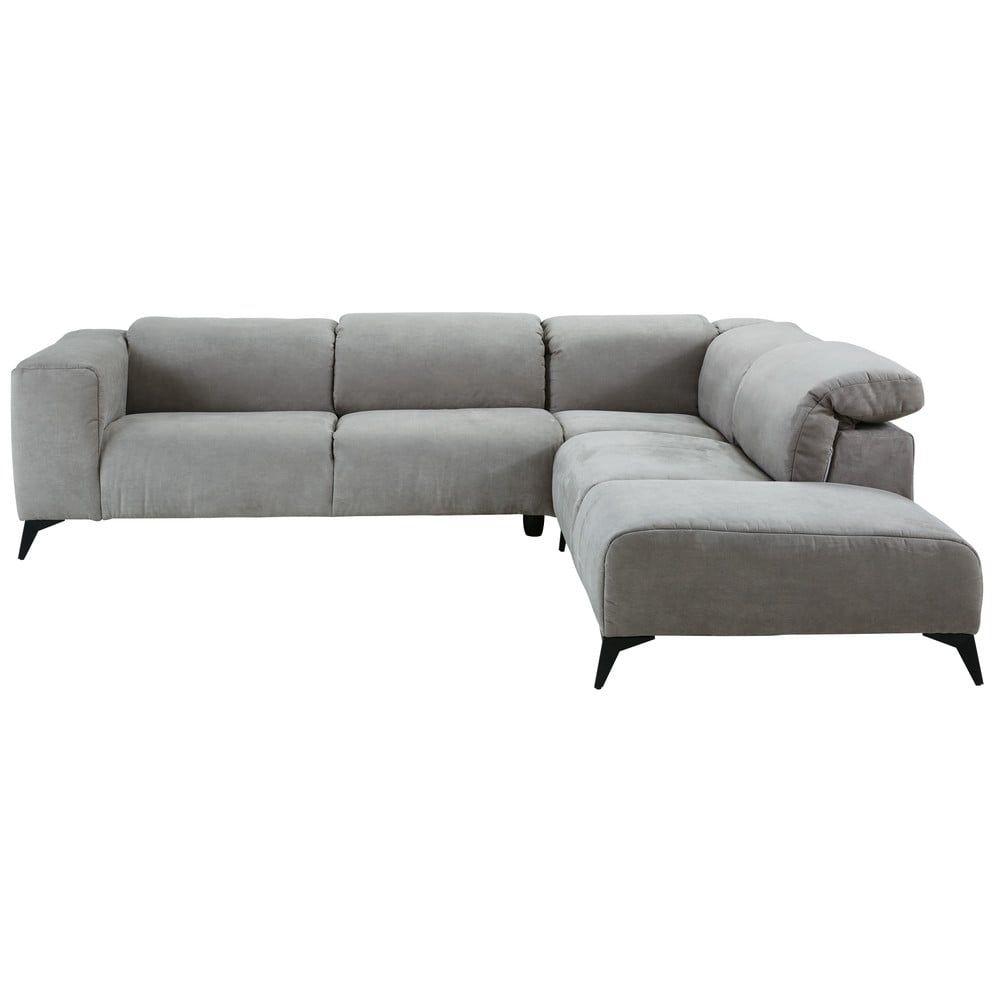 canap d 39 angle 5 places en microsu de gris clair. Black Bedroom Furniture Sets. Home Design Ideas