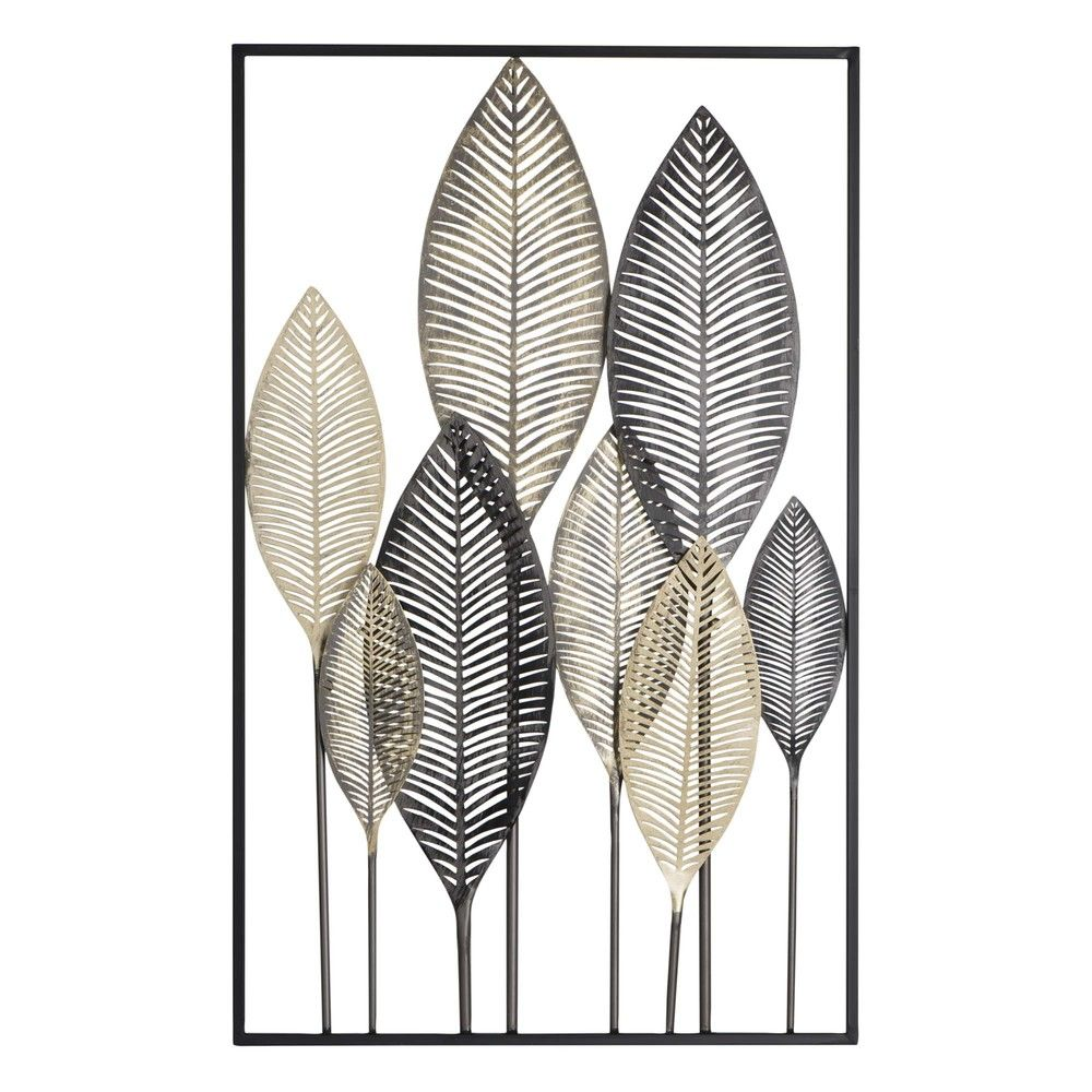 Déco murale plumes en métal noir et doré 15x15Décoration murale