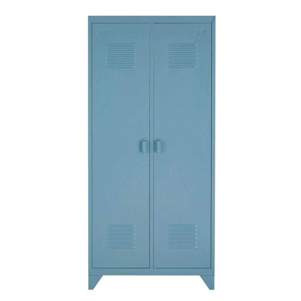 dressing 2 portes en m tal bleu gris loftarmoire dressing. Black Bedroom Furniture Sets. Home Design Ideas