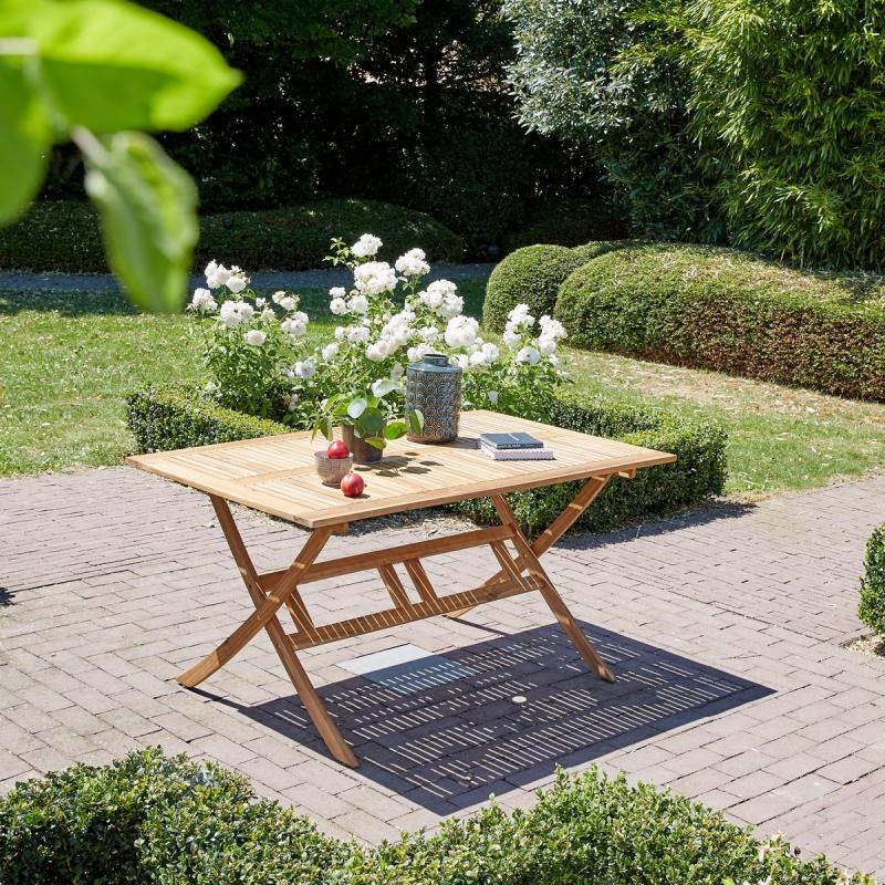 Salon de jardin en bois d\'acacia FSC 150x90 - Salle à manger ...