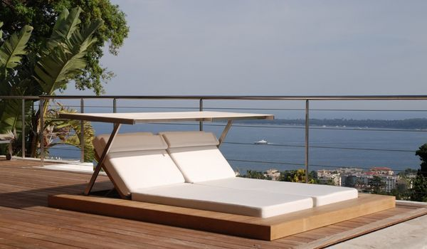 sundeck bain de soleil double teck massif 240 x 205 cm. Black Bedroom Furniture Sets. Home Design Ideas