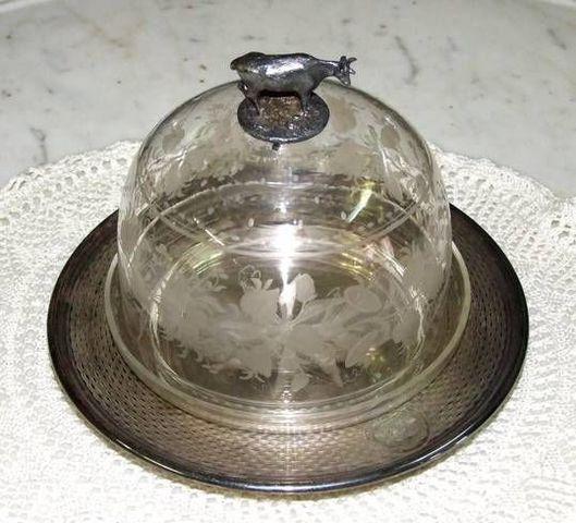 Antiquités Christiaens - Cloche à fromage-Antiquités Christiaens-Cloche à fromage en cristal de Bohême XIXème