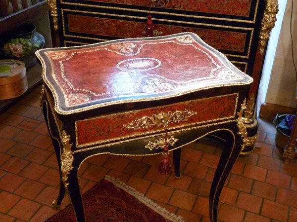 Art & Antiques - Boite à thé-Art & Antiques-Travailleuse en marqueterie Boulle dessus cuir et