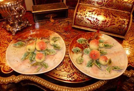 Art & Antiques - Assiette décorative-Art & Antiques-Paire de plats en barbotine fruits