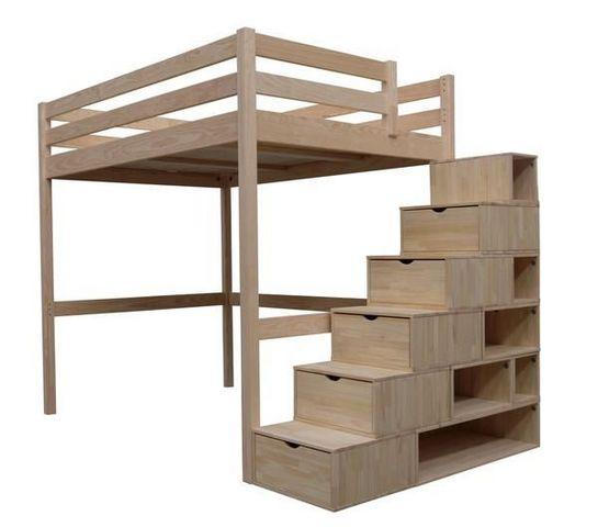 ABC MEUBLES - Lit mezzanine-ABC MEUBLES-Lit Mezzanine Sylvia 140x200 + escalier cube