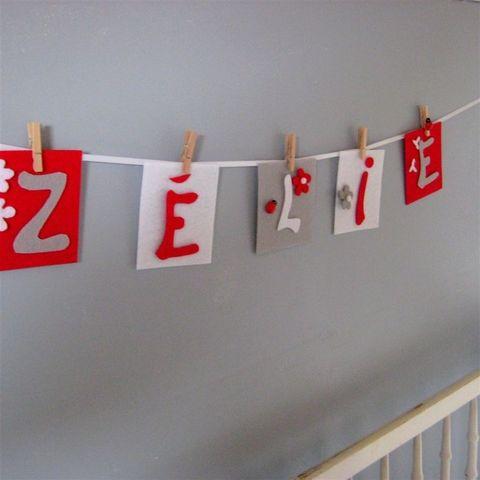LITTLE BOHEME - Guirlande enfant-LITTLE BOHEME-Guirlande prénom rouge pétant