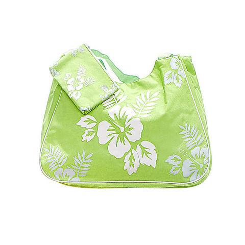 WHITE LABEL - Sac-WHITE LABEL-Grand sac cabas avec pochette assortie motif hibis