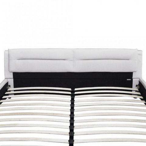 WHITE LABEL - Lit double-WHITE LABEL-Lit cuir 180 x 200 cm blanc et noir