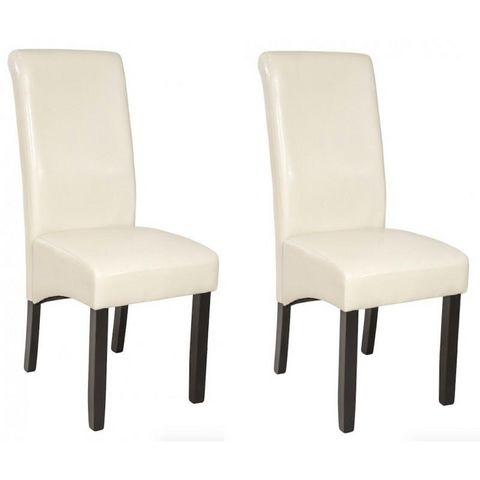 WHITE LABEL - Chaise-WHITE LABEL-2 chaises de salle à manger crème