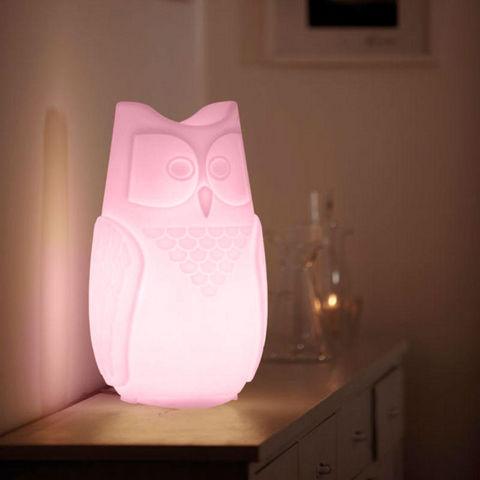 SLIDE - Lampe à poser enfant-SLIDE-BUBO - Lampe Hibou Rose H26cm | Lampe à poser Slid
