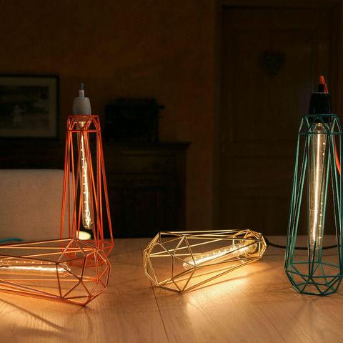 Filament Style - Suspension-Filament Style-DIAMOND 2 - Suspension Bleu câble Orange Ø12cm | L