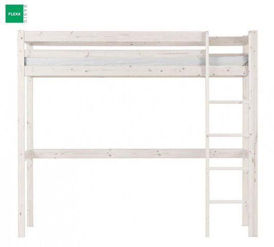 Flexa - Lit mezzanine-Flexa-Lit mezzanine FLEXA en pin vernis blanchi couchage