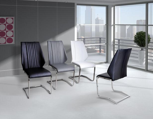 COMFORIUM - Chaise-COMFORIUM-Chaise ultra moderne simili cuir noir