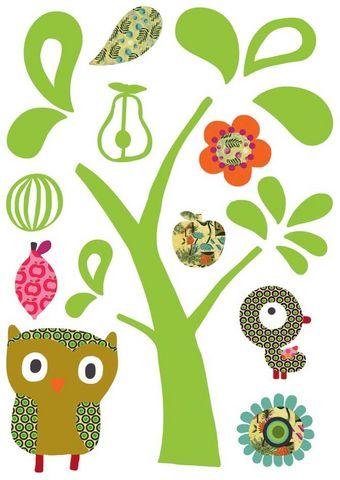 Nouvelles Images - Sticker Décor adhésif Enfant-Nouvelles Images-Sticker mural chat et hibou