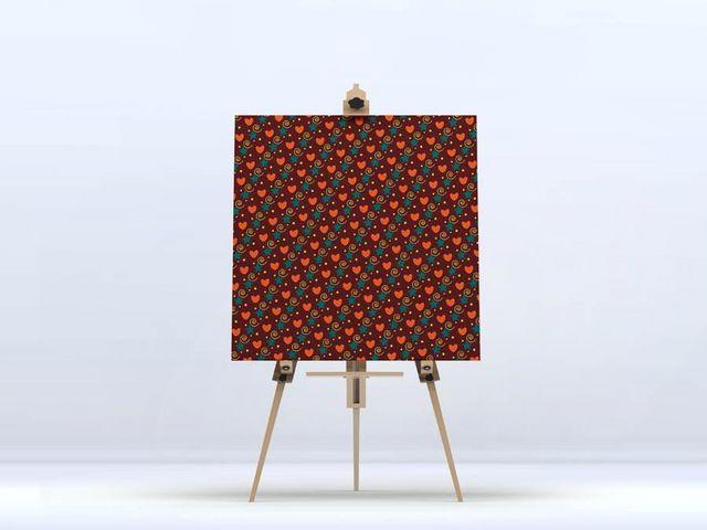 la Magie dans l'Image - Impression numérique sur toile-la Magie dans l'Image-Toile Héros Petits coeurs Orange