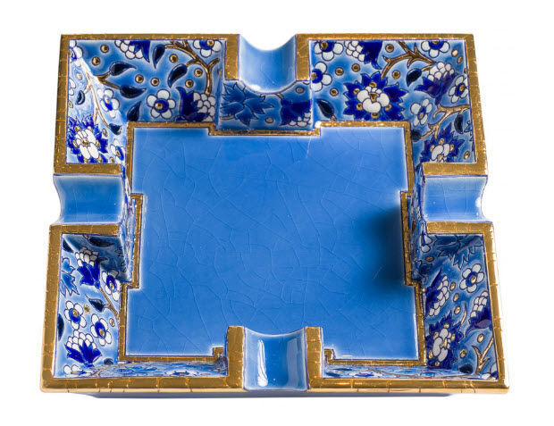 EMAUX DE LONGWY - Cendrier à cigare-EMAUX DE LONGWY-Bleu héritage