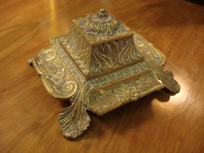 Serpentine Antiques - Encrier-Serpentine Antiques