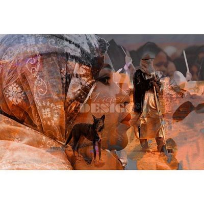 Magel'design - Tableau contemporain-Magel'design-Le Berger du Désert 120x80 cm , 3D effet relief