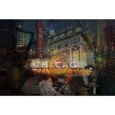 Magel'design - Tableau contemporain-Magel'design-Chicago Theater  120x80 cm , 3D, Effet relief
