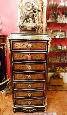 Art & Antiques - Secrétaire-Art & Antiques-Secrétaire droit en marqueterie Boulle