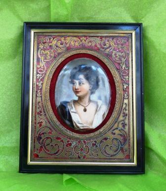 Art & Antiques - Cadre photo-Art & Antiques-Peinture sur porcelaine et cadre Boulle