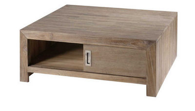 ZAGO - Table basse carr�e-ZAGO-Table basse carree avec porte en teck teinte